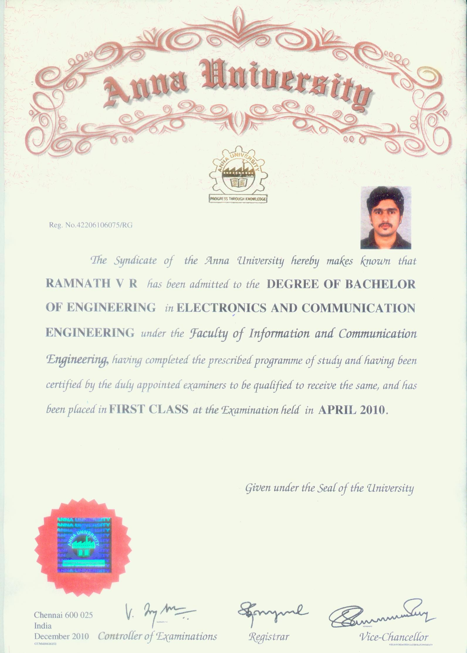 Convocation Certificate Electronic And Communication Engineering