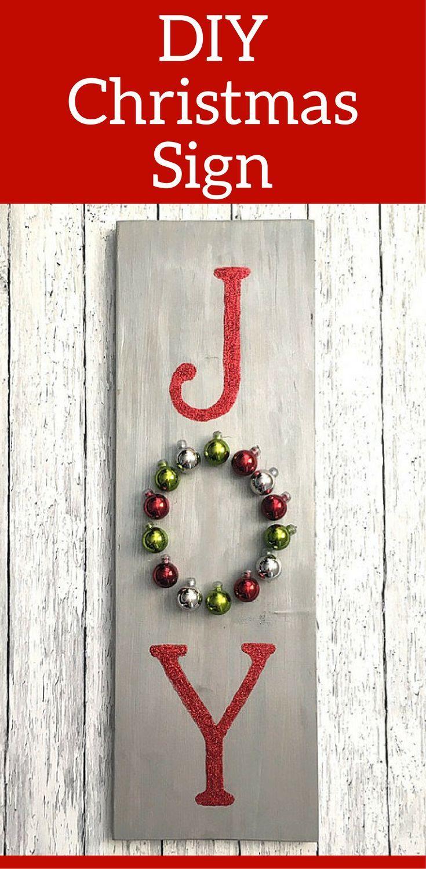 DIY Wooden JOY Christmas Sign - DIY Christmas Decor - Front Door ...