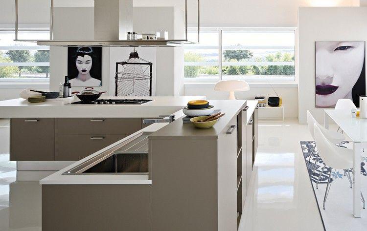 idées déco couleur taupe dans la cuisine moderne, carrelage sol