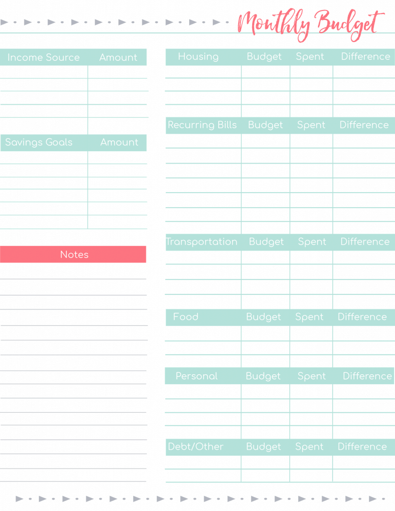 Printable Budget Worksheets 6 Free Templates For Beginners Budget Printables Printable Budget Worksheet Budget Planner Printable