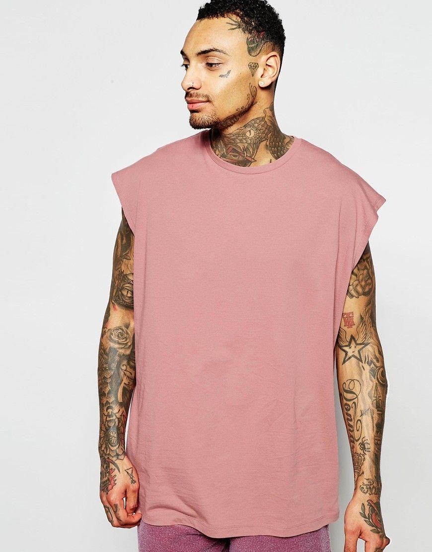 Image 1 of ASOS Oversized Sleeveless T-Shirt In Dusky Pink ...