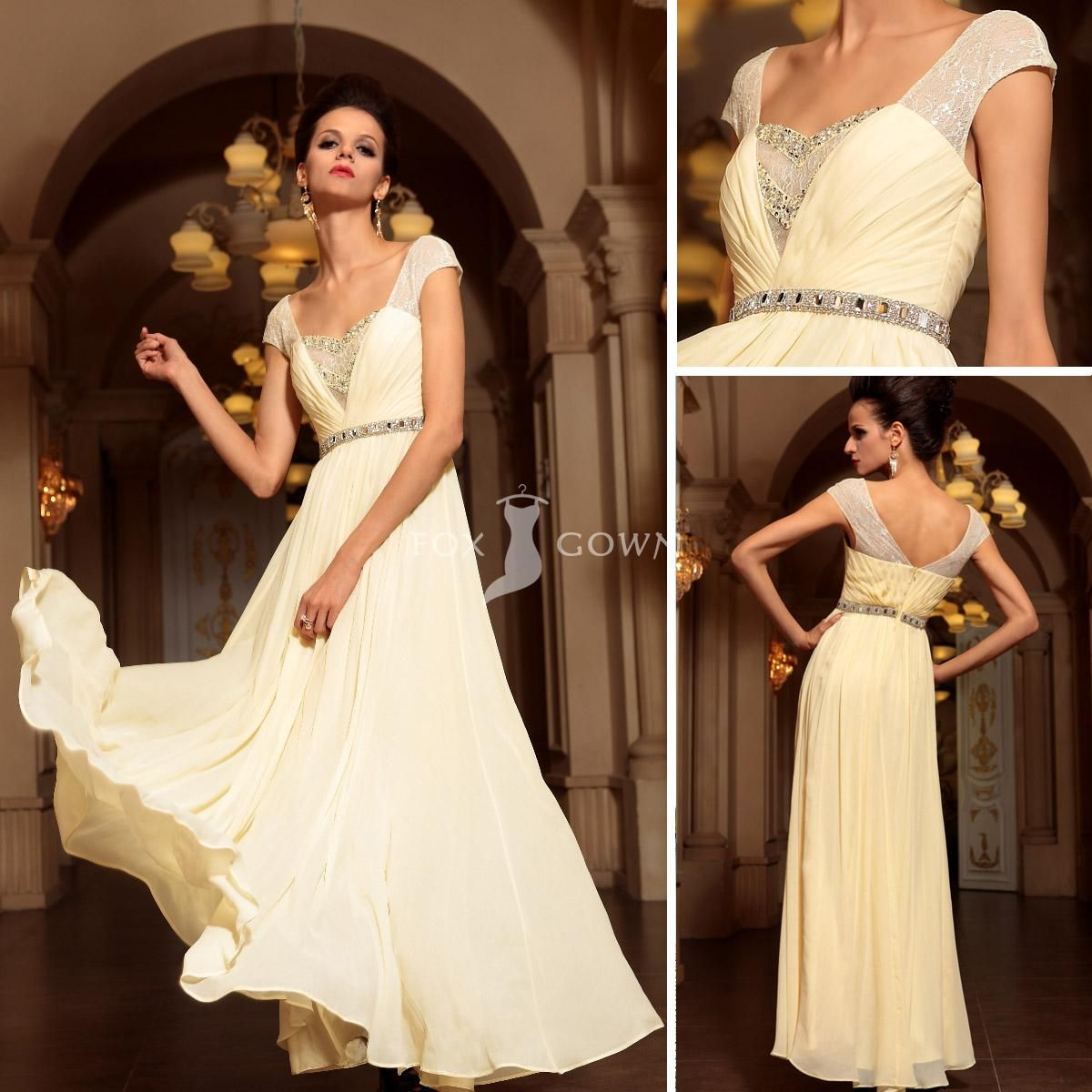 Light yellow line floor length lace cap sleeve pleated prom dress