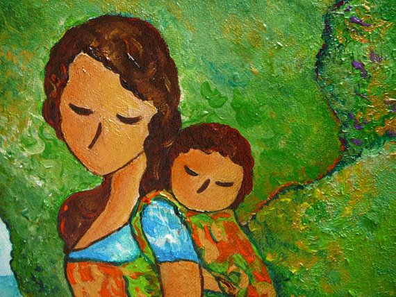 "Motherhood babywearing Painting ""Baby Wearing in the Green"" mixed media original by Gioia Albano"
