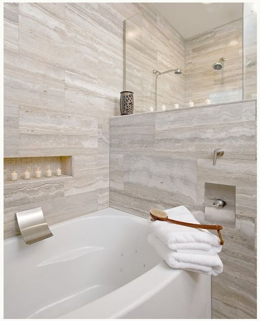 Vein Cut Travertine Bathroom Tiles   Cheryl Kees Clendenon