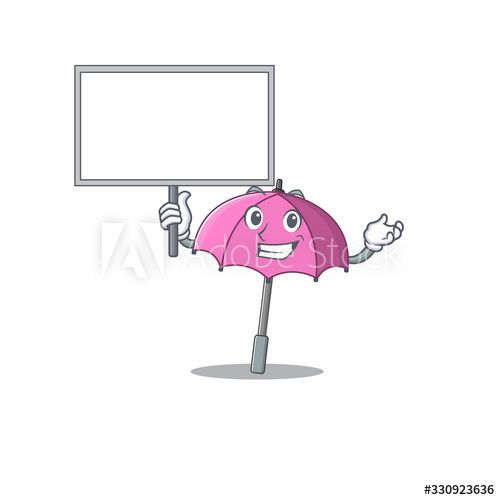 Pink umbrella cute cartoon character bring a board - Buy this stock vector and explore similar vectors at Adobe Stock