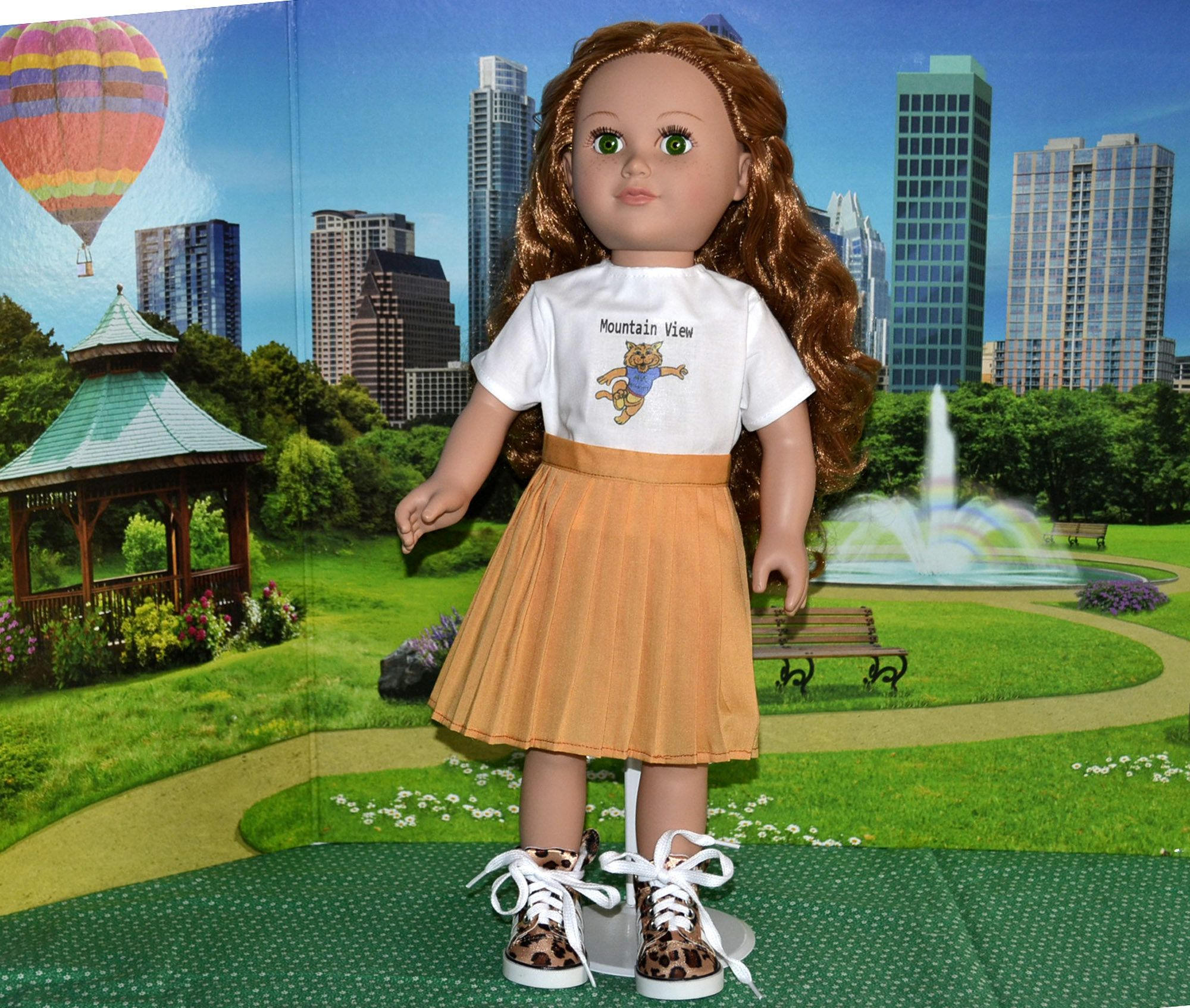 Mountain View Elementary School Cheerleader Outfit for American 18 inch girl doll