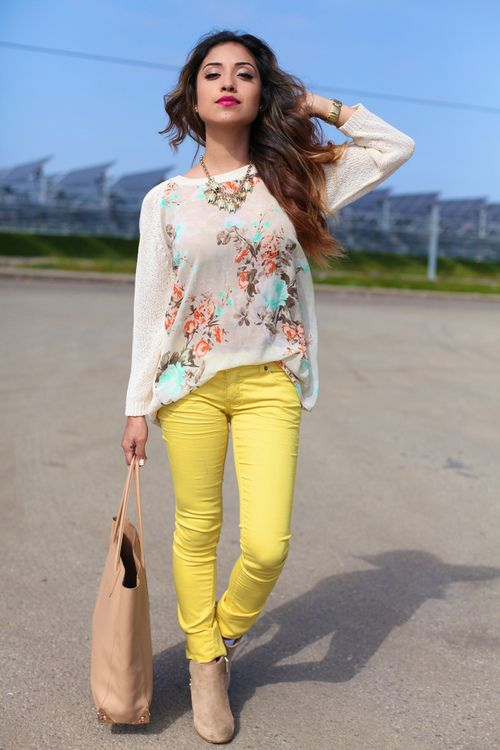 love the colored jeans and the flowy top