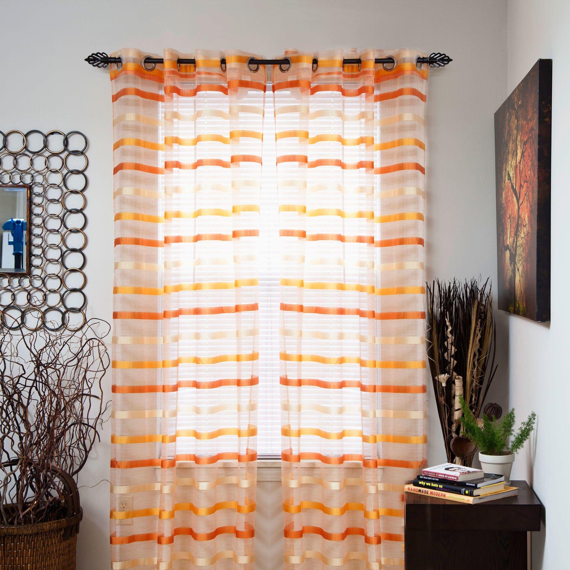 White Orange And Gray Stripe 84 Inch Curtain Panel Pair Striped