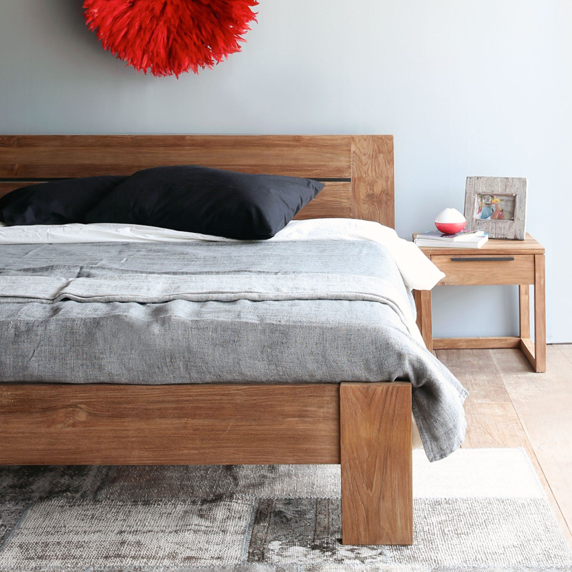 Teak Bed Frame Azur Bed Singapore Size In 2020 Wooden King Size Bed King Size Bed Frame Teak Bedside Table