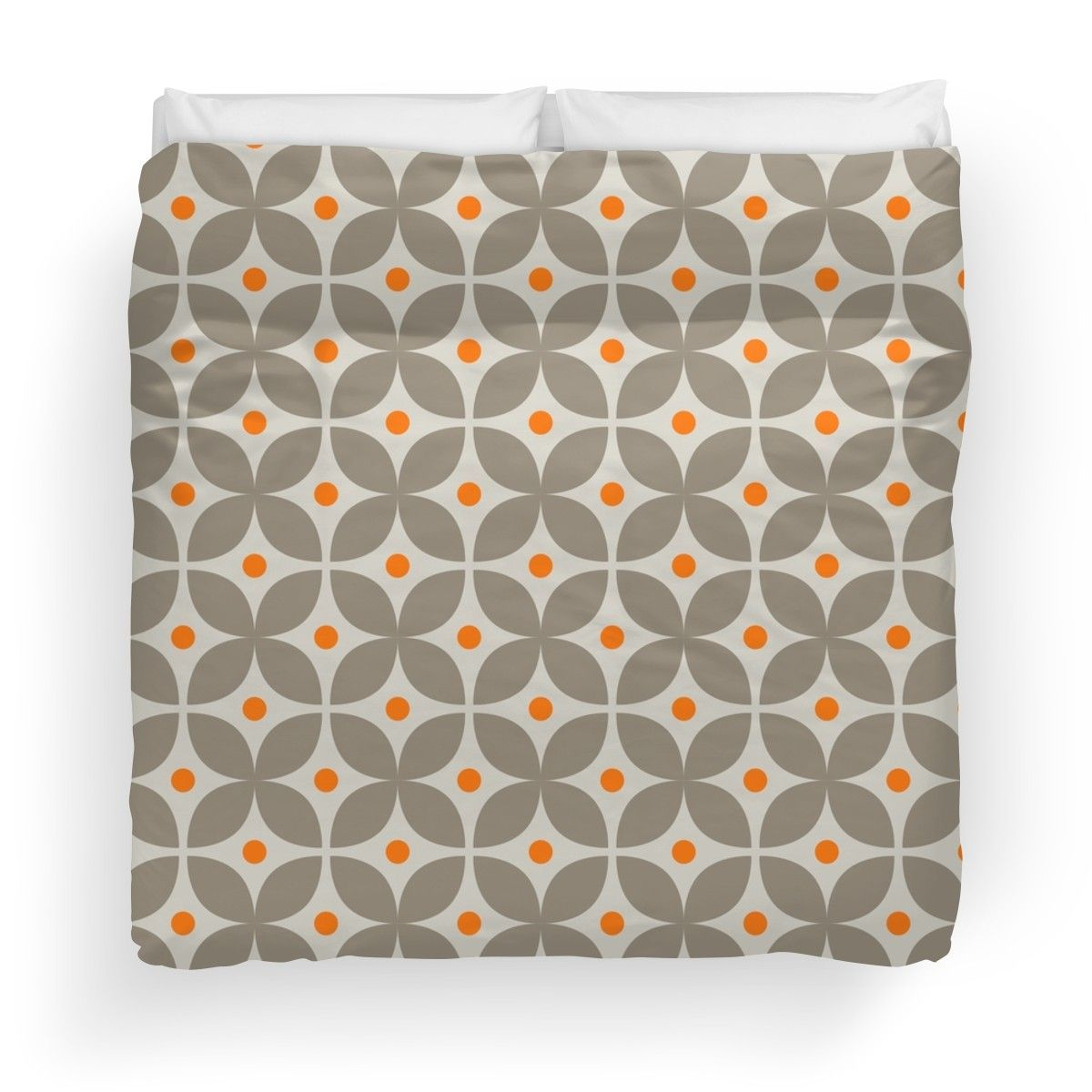 Geometric Pattern Stylised Flower Grey