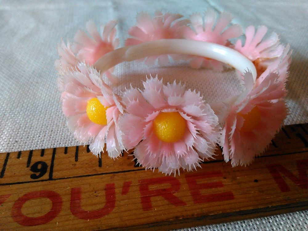 VINTAGE  FLOWER BRACELET, CUFF SLIP ON, PINK & YELLOW FLOWERS, EXCELL