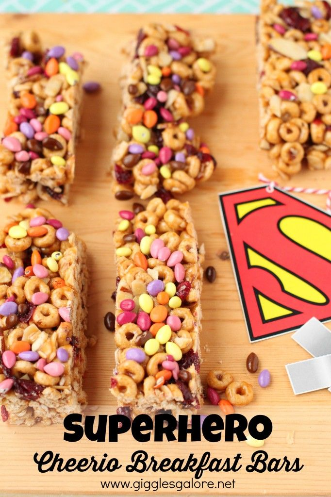 #Superhero Cheerio Breakfast Bars: perfect for a party treat!