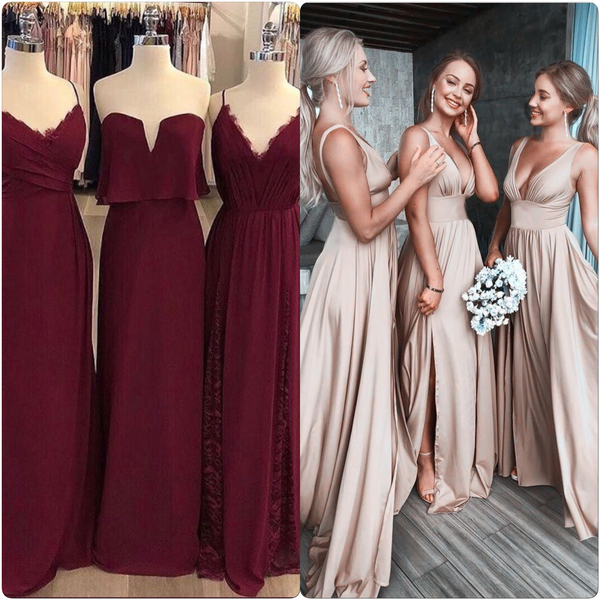 Gold Gowns Wedding: Burgundy And Rose Gold Bridesmaid Dresses