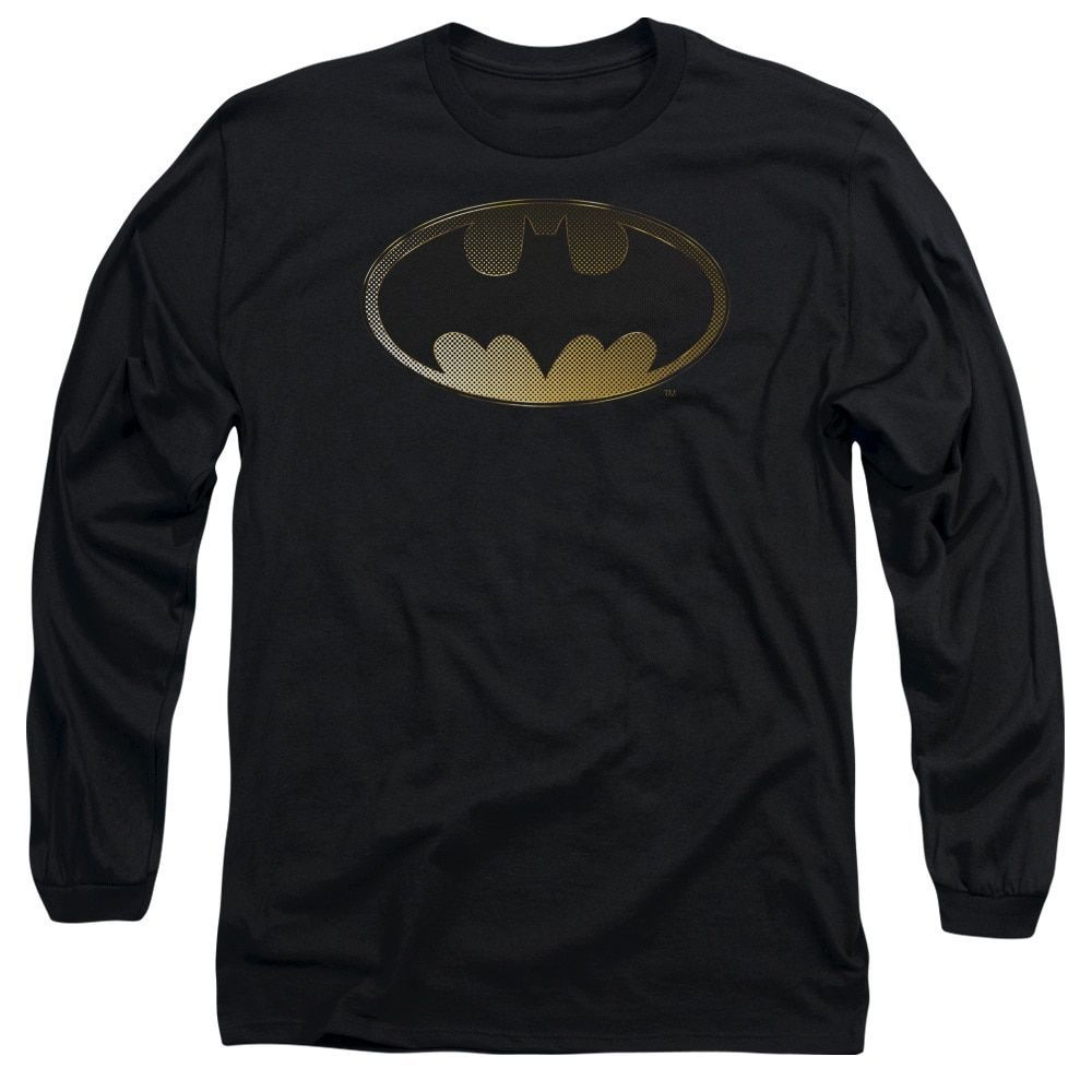 Batman/Halftone Bat Long Sleeve Adult T-Shirt 18/1