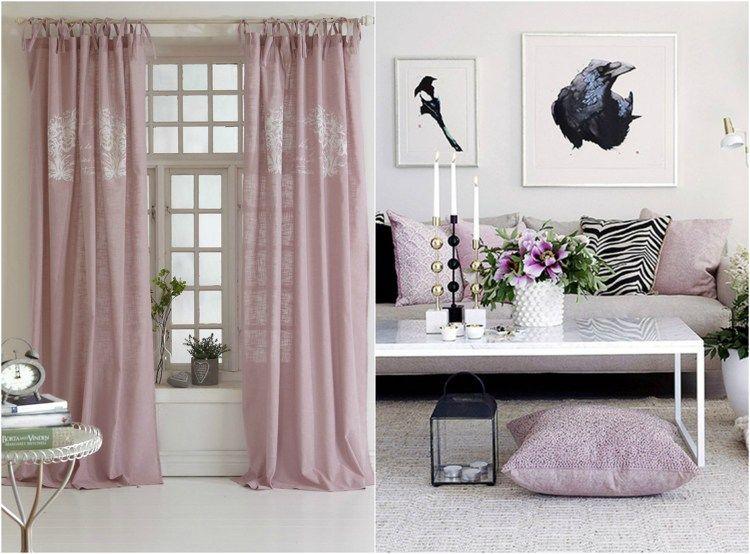 Wohnideen Wohnzimmer Romantisch romantisch wohnen vorhänge und kissenbezüge in rosa wohnideen