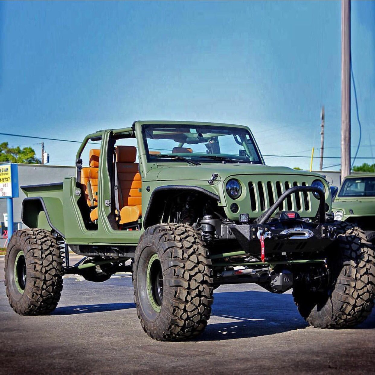 Jacked Up Jeep Wrangler >> Army Jeep Wrangler Pickup Push Bar Beige Leather Seats Jacked Up