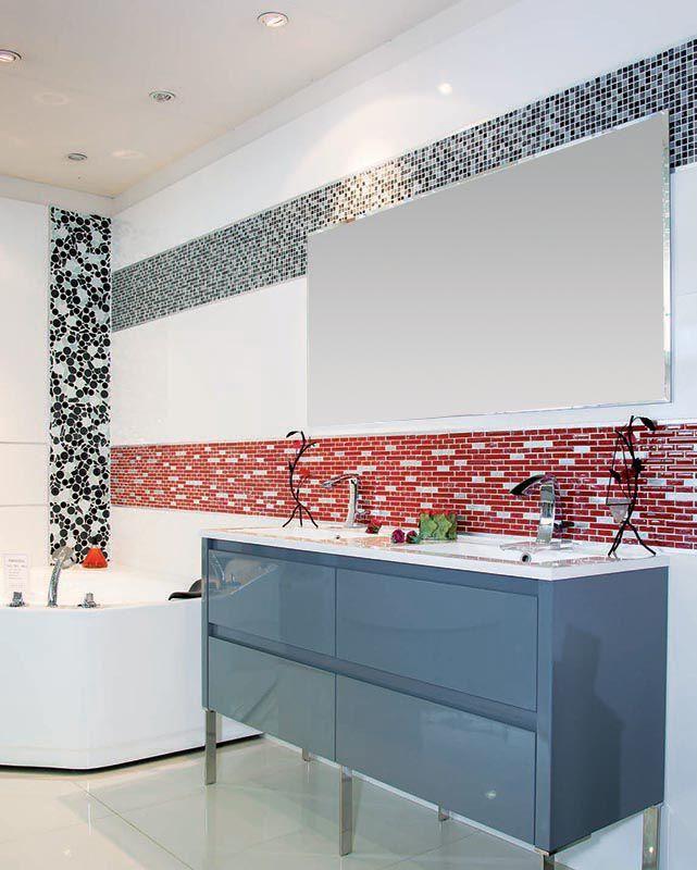 Meuble salle de bain 140 cm laqué gris + mosaique rouge blanc noir + ...