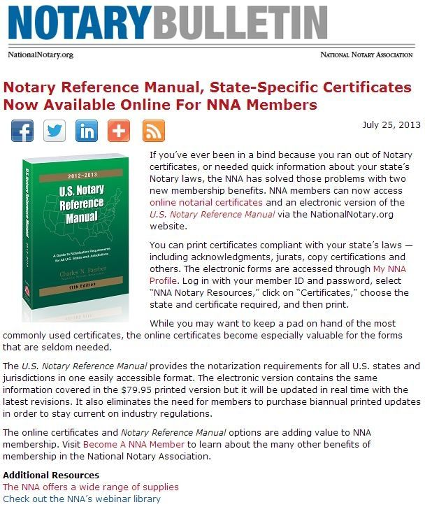 Notary Reference Manual, StateSpecific Certificates Now