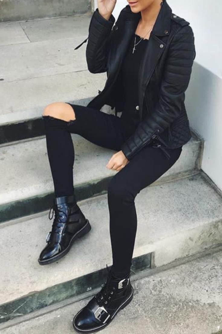 Veste en jean noir troue femme