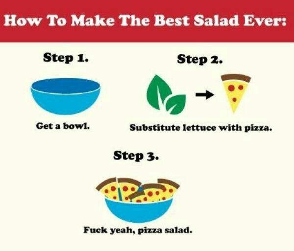 Pizza salad!