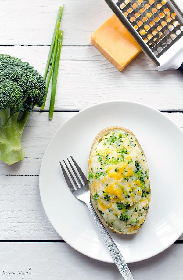 These Broccoli Cheddar Twice-Baked Potatoes are a flavorful, vegetarian, easy-to-prepare side dish that the whole family will love. Get the recipe from SavorySimple.net