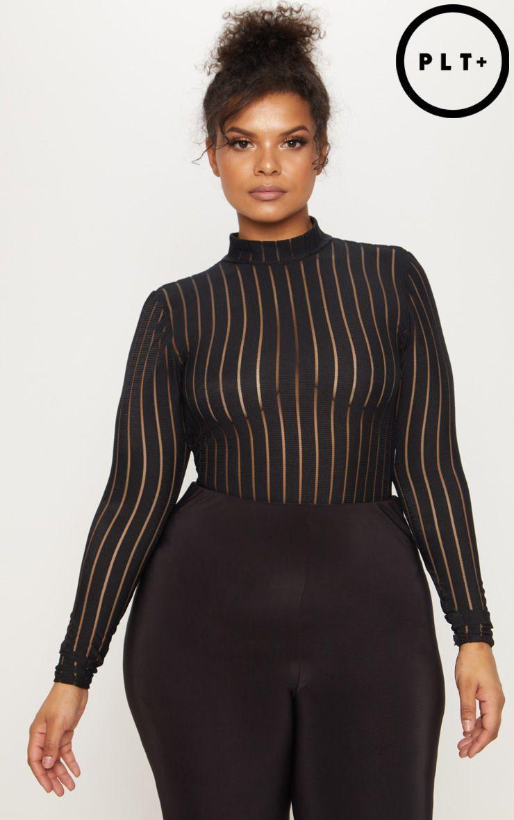 Burnt orange dress plus size  Plus Black Burn Out Striped Mesh Bodysuit Shop the range of plus