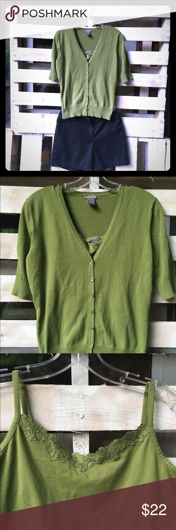 Short sleeve cardigan and matching lace top tank   Olive green ...