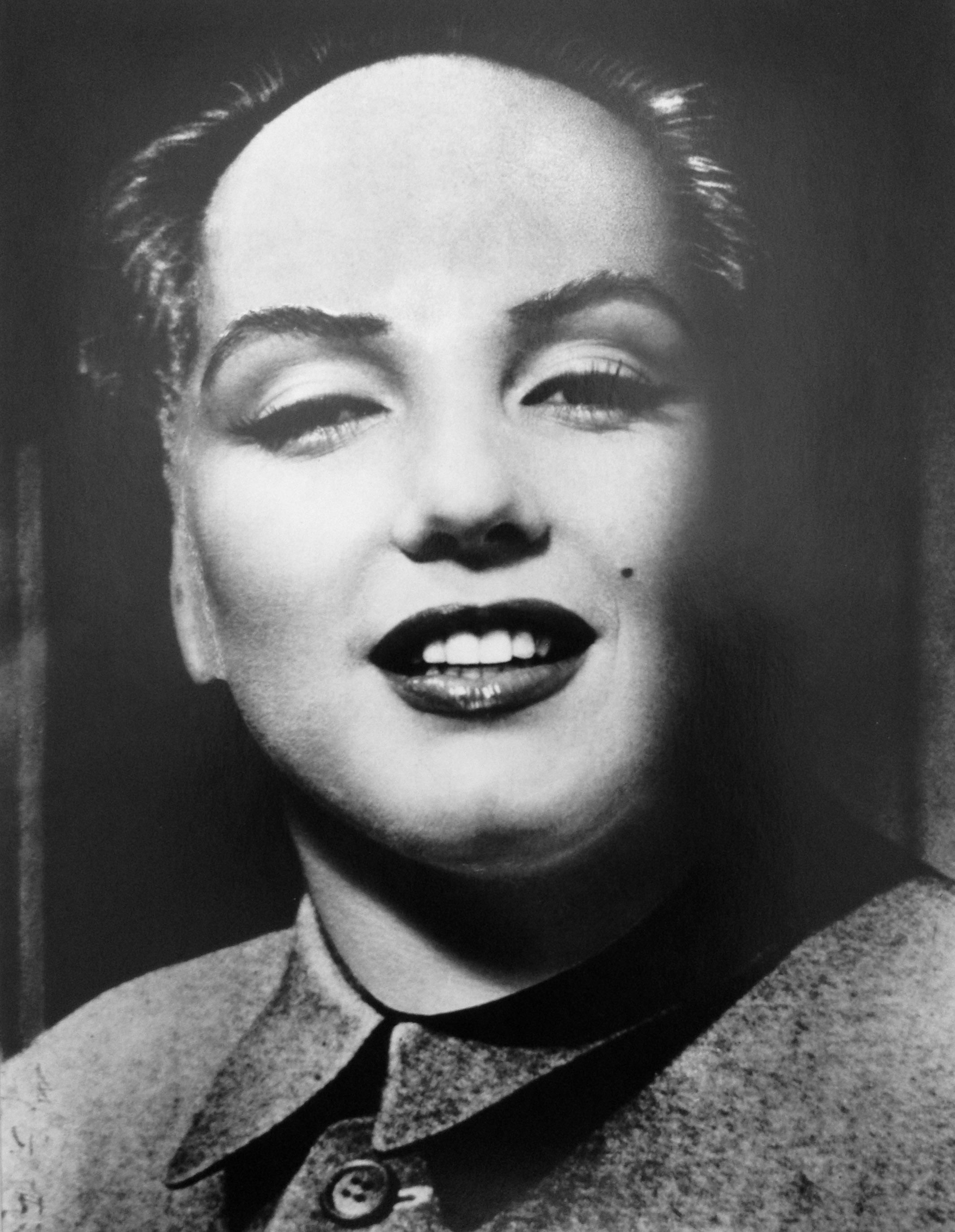 Marilyn Monroe As Chairman Mao Zedong By Dali Halsman Gelatin Uno Card Silver Print 1952