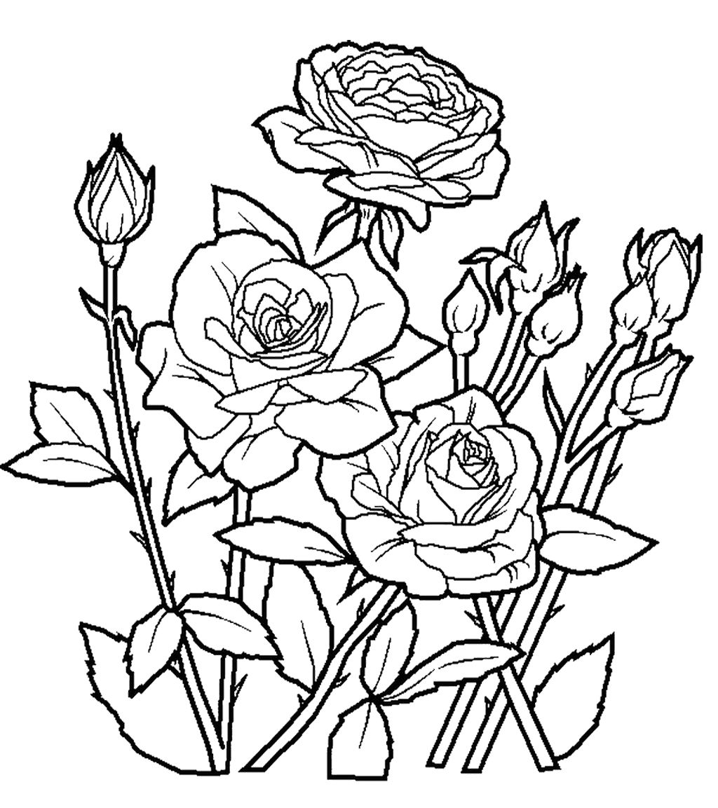 Coloring pages trees and flowers - Flower Coloring Worksheet