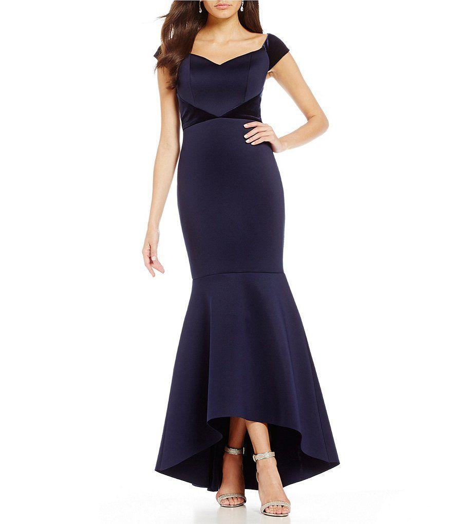 Eliza J Off the Shoulder Velvet Trim Gown | Gowns and Shoulder