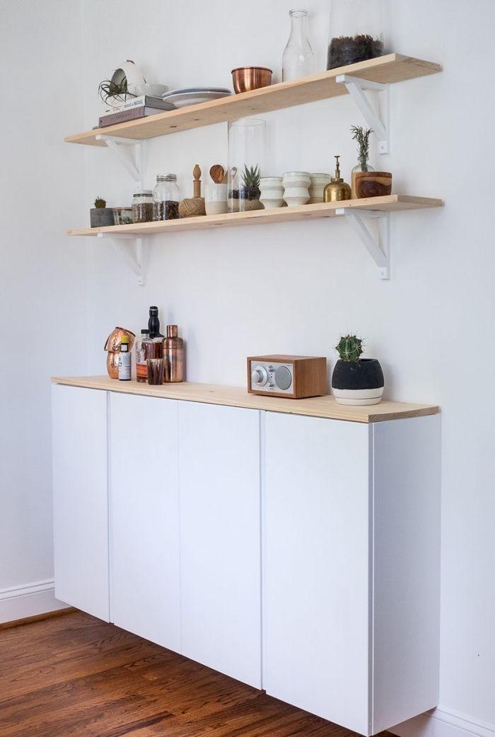 idée de meubles fonctionnels pour aménager une petite cuisine, un meuble flottant bas de cuisine ...