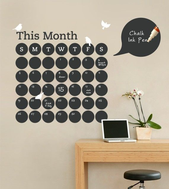 Daily Dot Chalkboard Wall Calendar [Vinyl Wall Decal] // Etsy Love This  Idea For Office Or On A Weekly Level In The Kitchen For Dinner  Menuu0027s/grocery List! Pictures