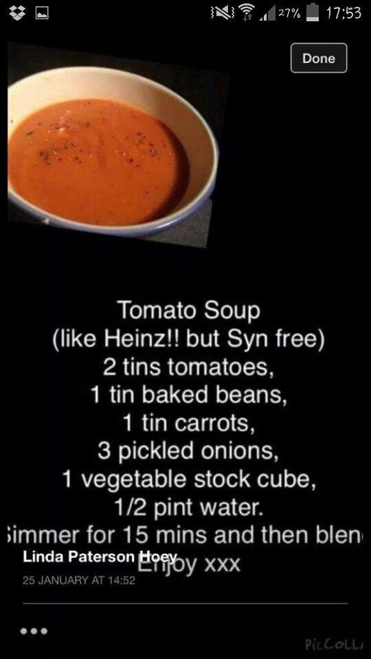 Syn free 'heinz'tomato soup