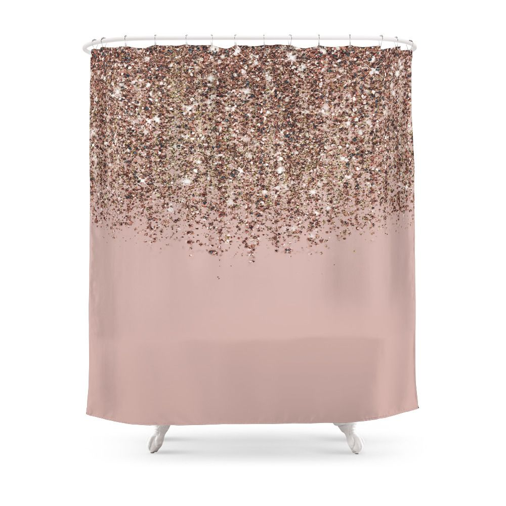 Blush Pink Rose Gold Bronze Cascading Glitter Patterned Shower
