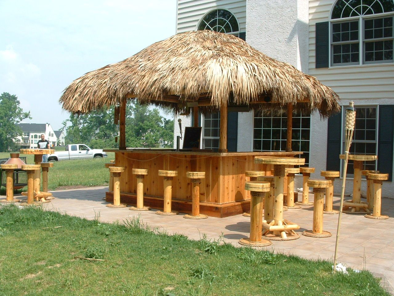 Royersford Pa 10x10 Custom Red Cedar Tiki Bar 12x12 Thatched Roof Footrest Solid Pine Upper And Lower Bar Tops Cabinets Tiki Bar Bar Sink Thatched Roof