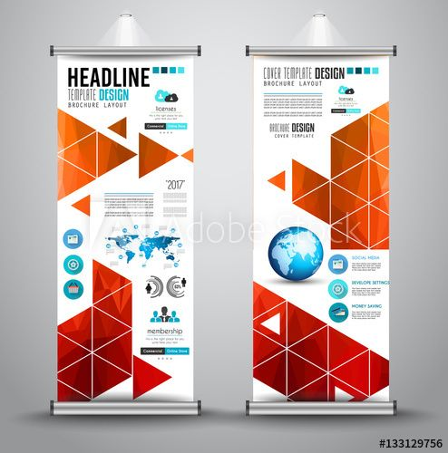 Advertisement roll up business flyer or brochure banner with