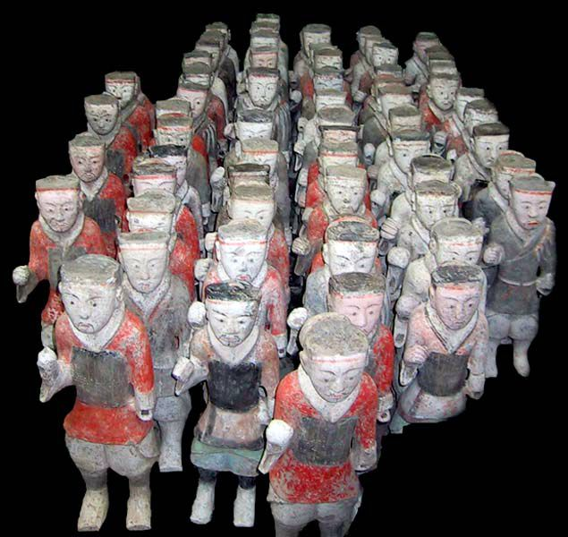 15 painted terracotta warriors, 206 BC to 9 AD, Western Han Dynasty. This