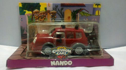 """Chevron Cars Nando with Detachable Guitar Case by Chevron. $14.85. L 6.25"""" x W 3.25"""" x H 2.5"""". Hood opens to reveal engine; Front door opens for the mariachis; Hitch on back for trailer hook-up. Eyes move up and down when you push down and roll;. Even if Nando can't carry a tune, he can carry the Mariachis! Wherever you go with Nando, it isn't just fun, it's a fiesta!. Detachable guitar case snaps on and off of roof rack. Ajua! Donde hay musica, hay fiesta! Y Nando siempre..."""