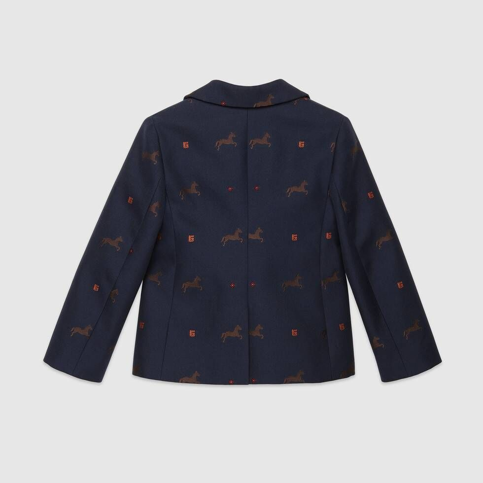 Gucci Children's horse gabardine jacket #horsepattern