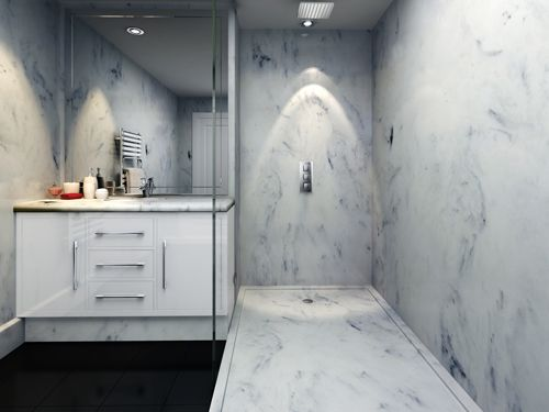 Designer Look Bathroom In White Marble   Marble Panels, Marble Shower Tray  And Marble Vanity Top.