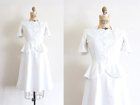 vintage 1940s dress  // 40s two piece wedding by TrunkofDresses, $145.00