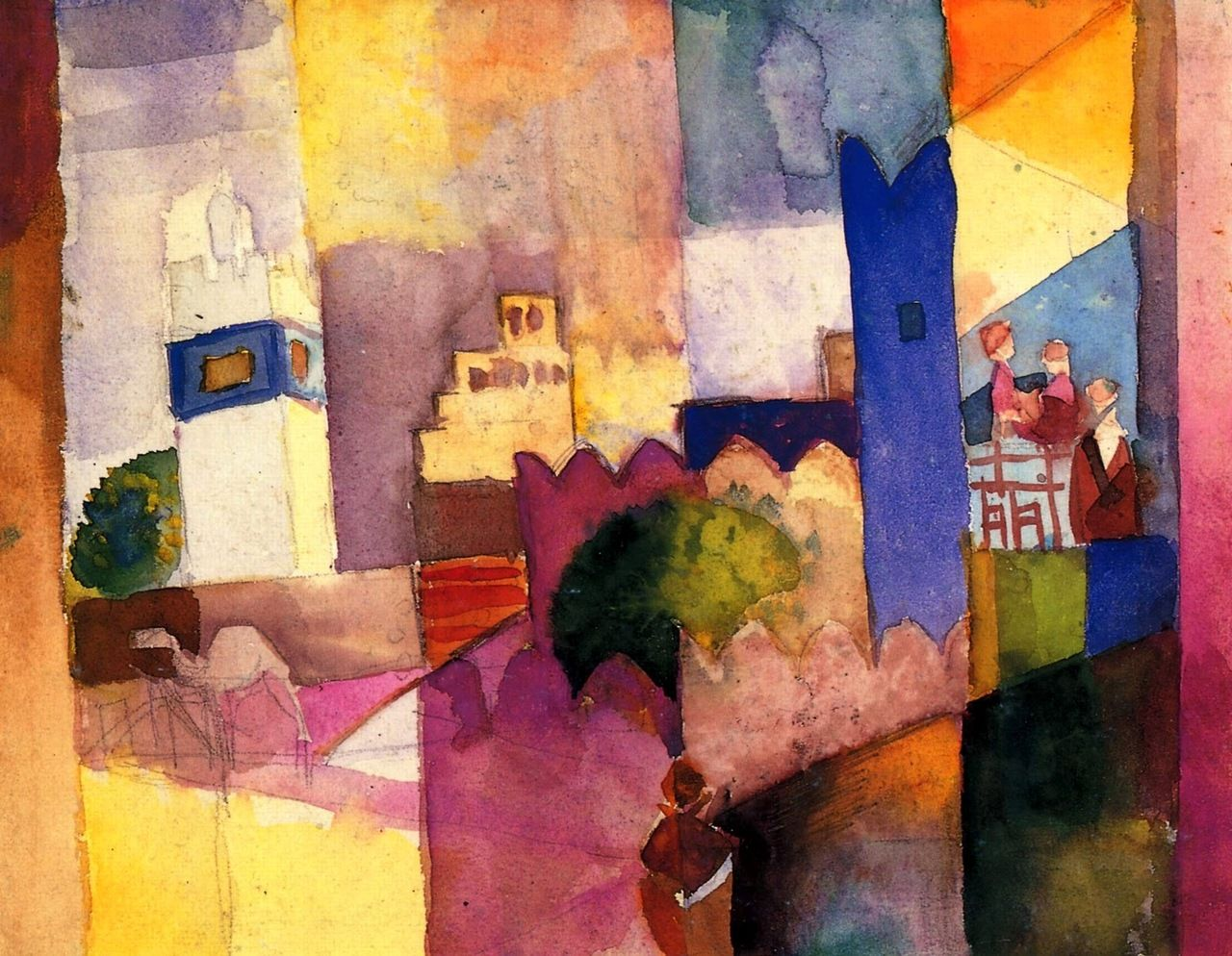 August Macke - 1914 Kairouan III watercolour - showing the influence of orphic cubism.