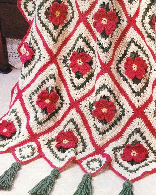 Apple Blossom Afghan Crochet Pattern | Manta, Colchas y Cuadrados de ...