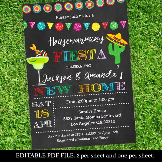 Fiesta Themed Housewarming Party Invitations  Housewarming Party