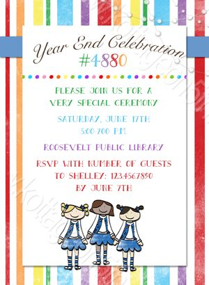 Group girls blue year end celebration printable invitation group girls blue year end celebration printable invitation kottageon5th blue vest girl party rainbow invite stopboris Choice Image