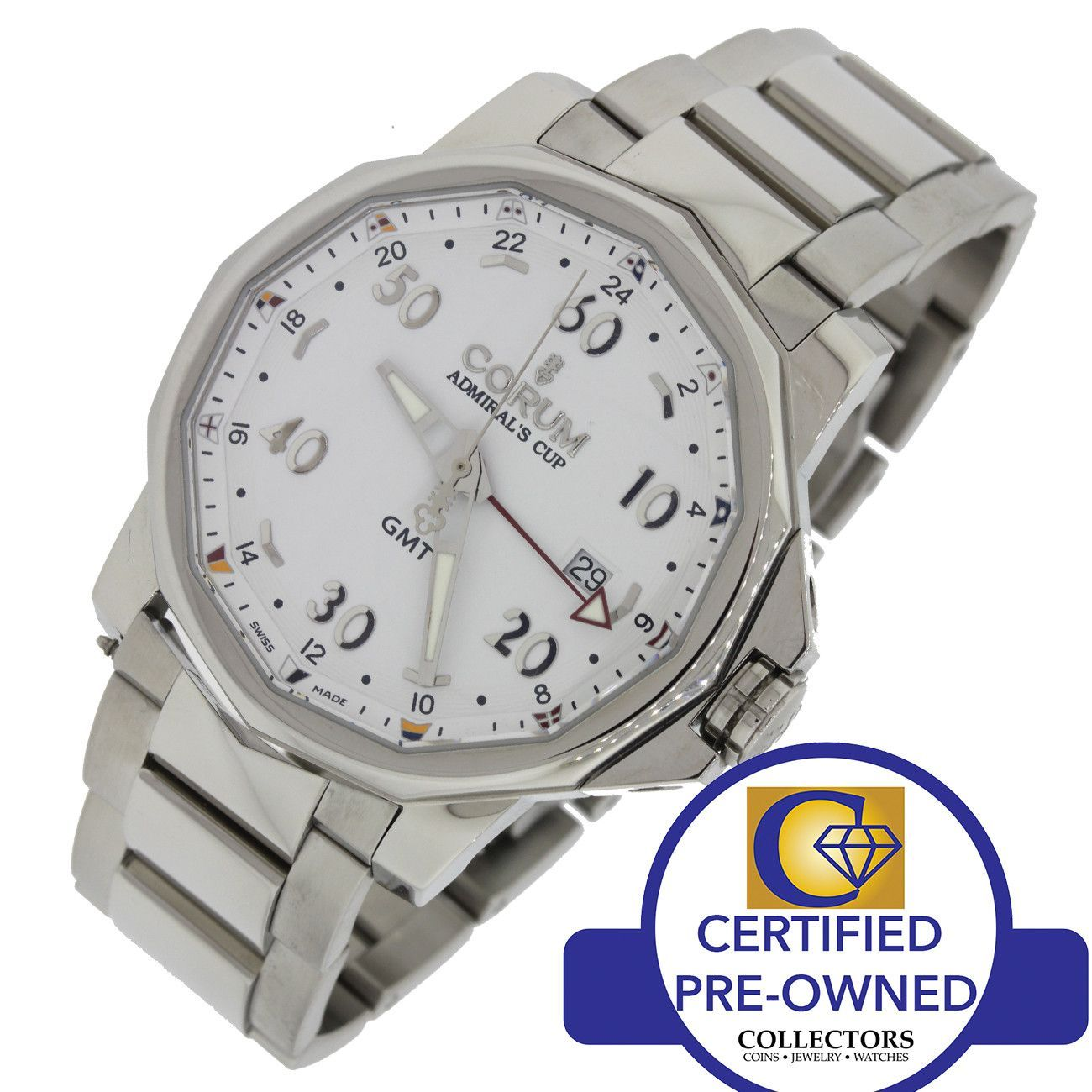 MINT Corum Admiral's Cup GMT Date Automatic White Steel Watch 383.330.20/V701