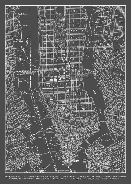 New York City Map New York City Manhattan Street Map Vintage - Nyc map lower manhattan