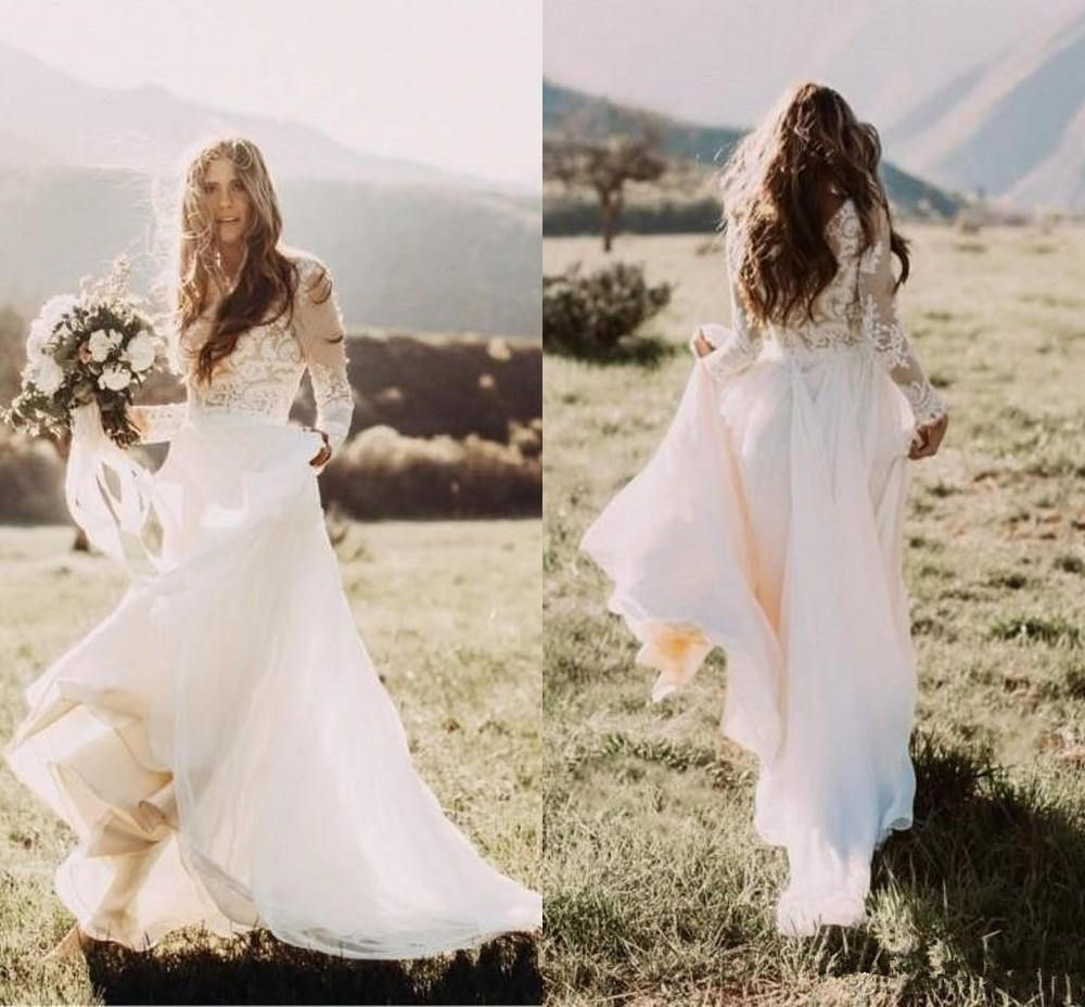 Details about long sleeves flowy chiffon lace boho wedding