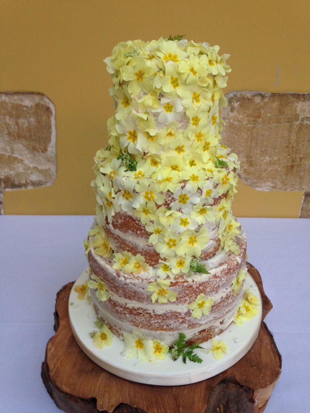 Fresh edible flower naked cakes at Bibury Court, Bibury ...