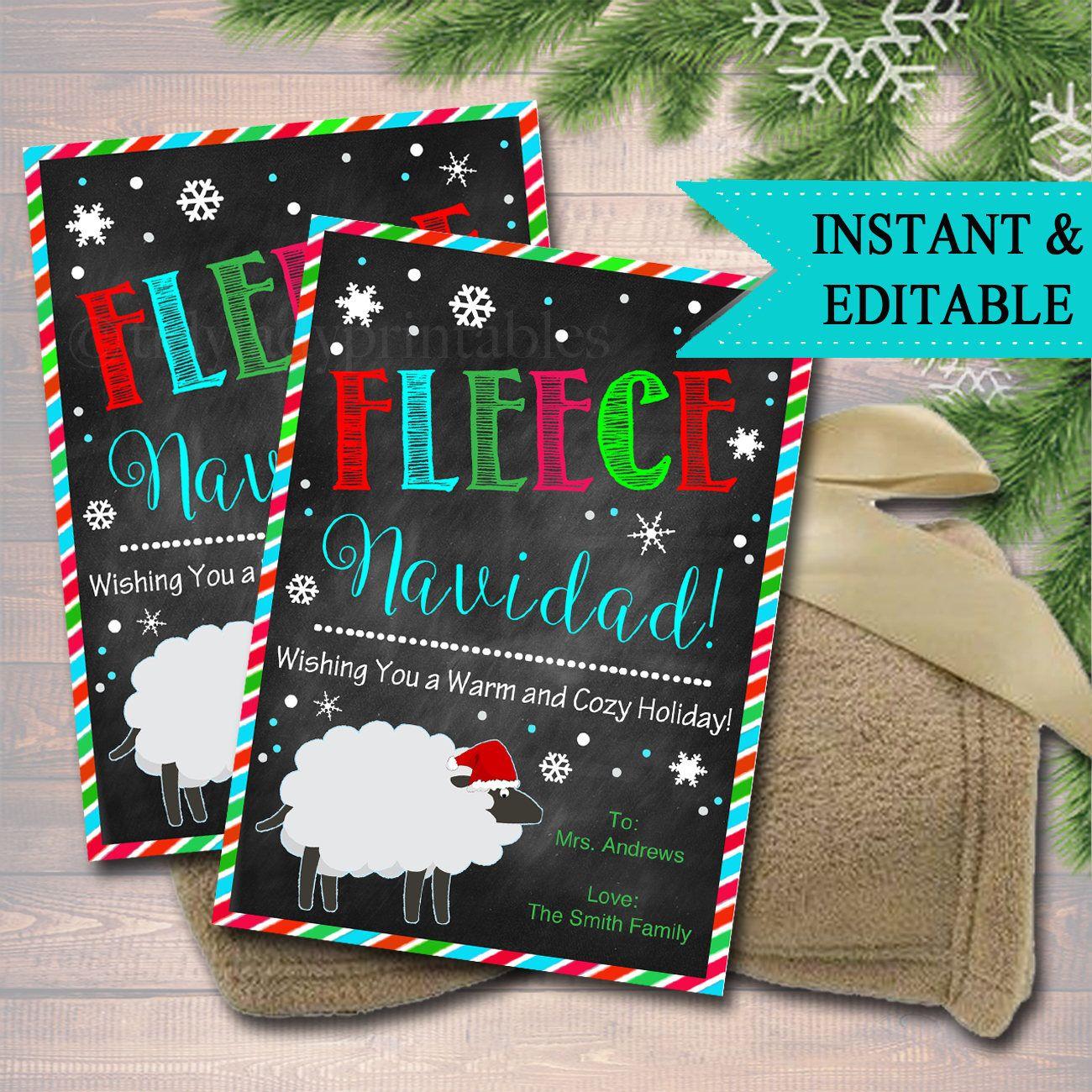 Editable fleece navidad christmas gift tags secret santa